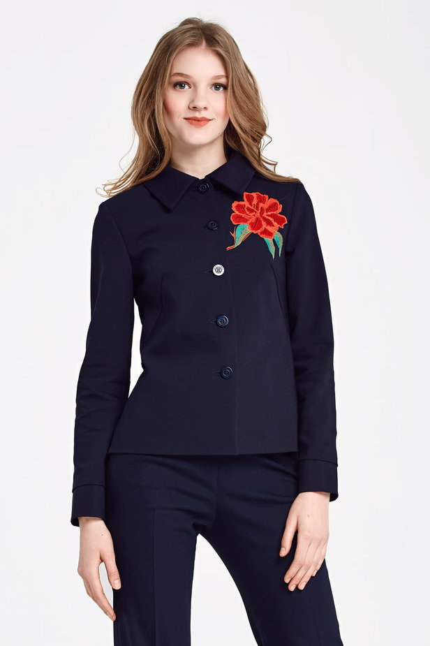 Dark blue jacket with a flounce and embroidery photo 1 - MustHave online store