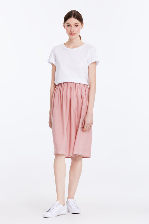 Below the knee powder pink skirt with an elastic waistband photo 2 - MustHave online store