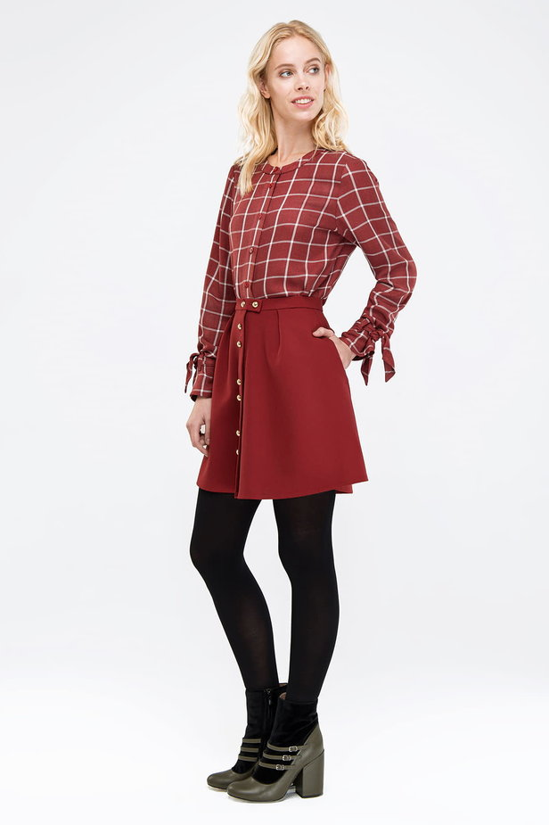 Checked burgundy shirt with bows on the sleeves photo 2 - MustHave online store