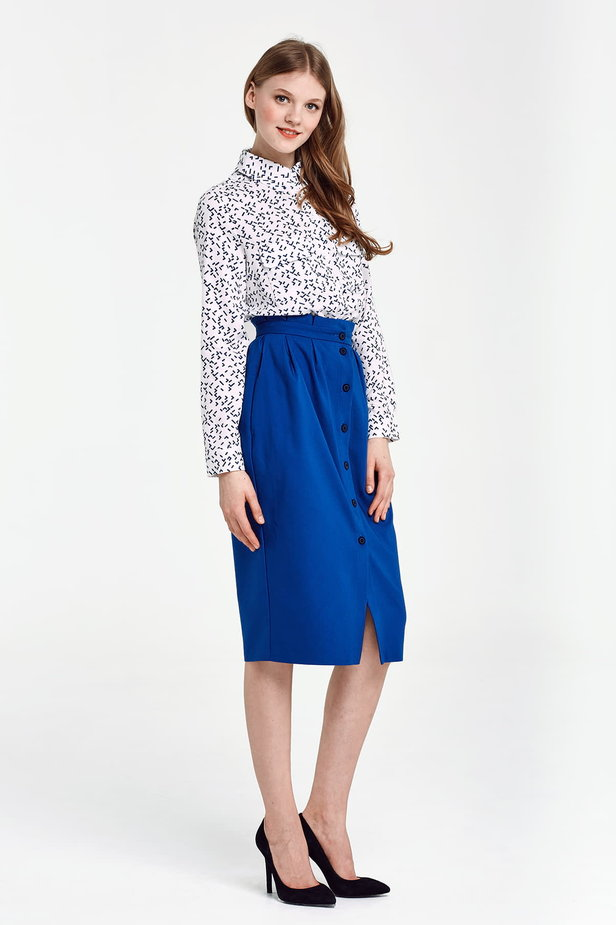 Blue skirt with buttons and ruffled belt photo 4 - MustHave online store