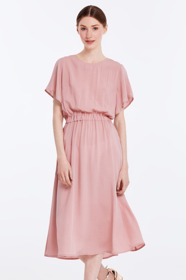 Midi powder pink dress with an elastic waistband photo 1 - MustHave online store