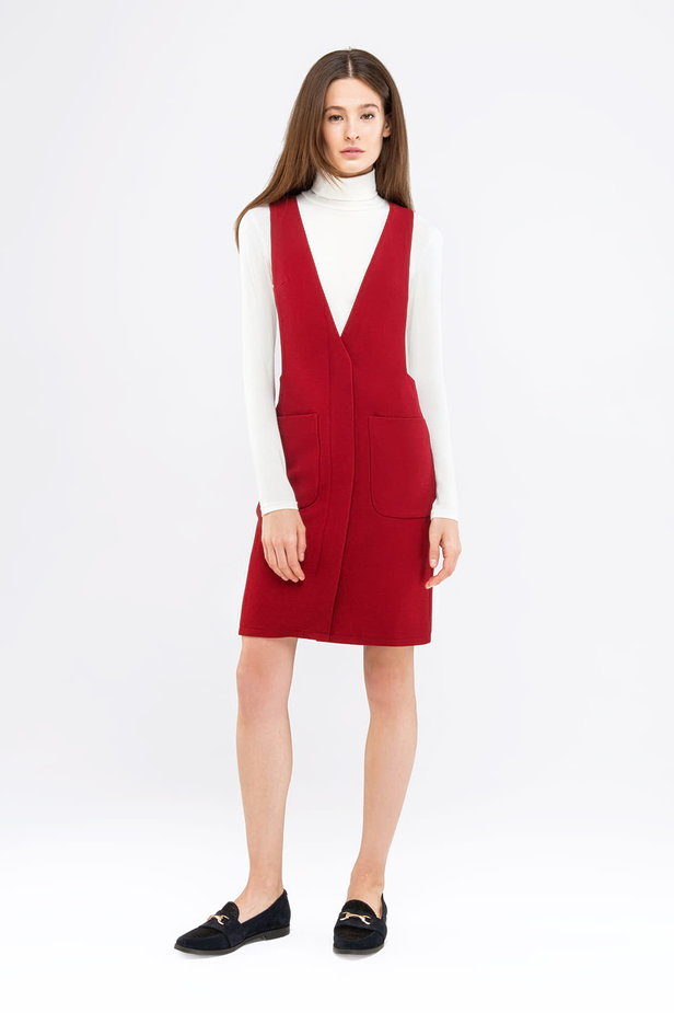 Red sundress with two pockets photo 4 - MustHave online store