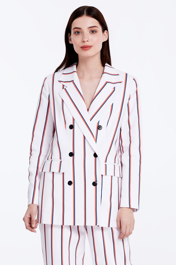Double-breasted white jacket with blue and red stripes photo 4 - MustHave online store