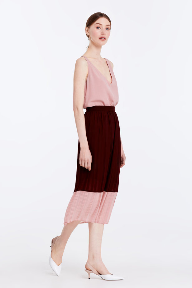 Below the knee pleated dark-red and powder pink skirt photo 4 - MustHave online store