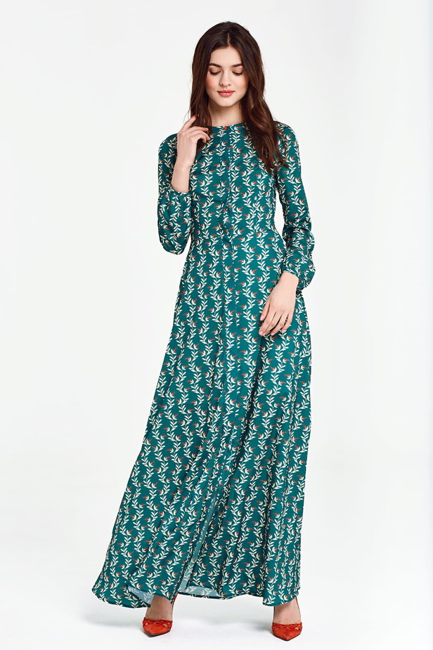 Maxi green dress with a concealed placket, floral print photo 1 - MustHave online store