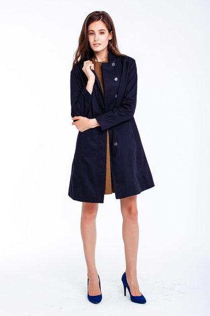 Blue trenchcoat with a stand up collar