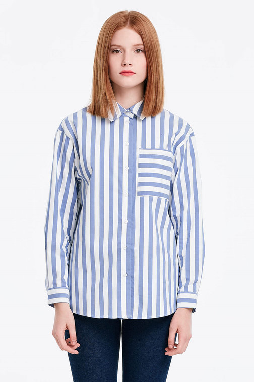 White shirt with blue stripes and a pocket