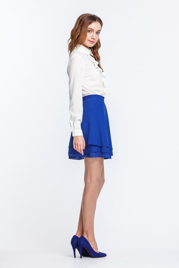 Mini blue chiffon skirt photo 4 - MustHave online store