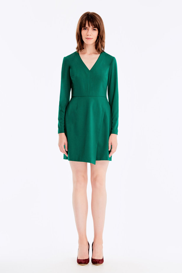 Wrap V-neck MustHave green dress photo 2 - MustHave online store