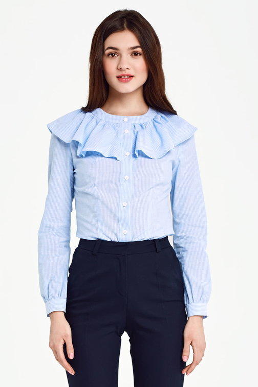 Blue shirt with a flounce and white stripes