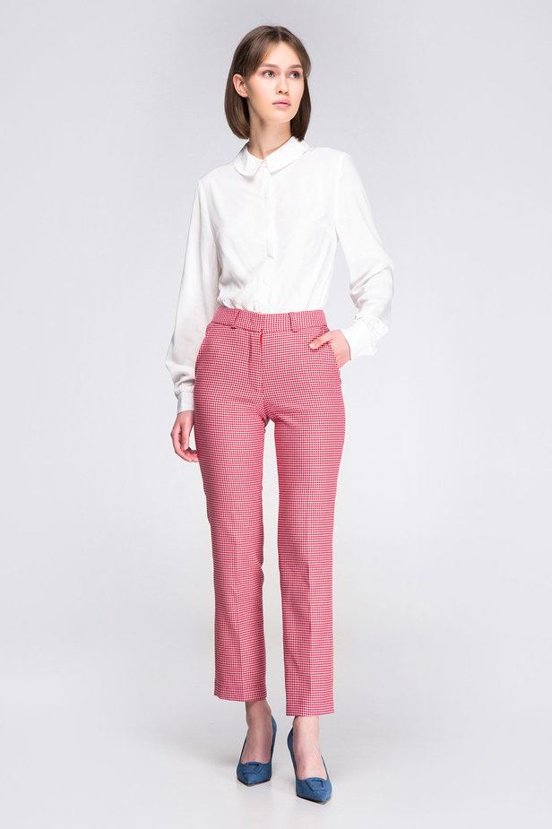Pink-red houndstooth pants photo 4 - MustHave online store
