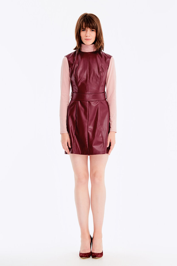 Below-knee burgundy leather dress photo 2 - MustHave online store