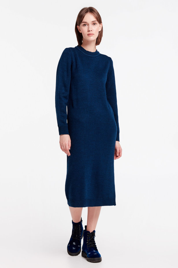Dark-blue knit dress photo 2 - MustHave online store