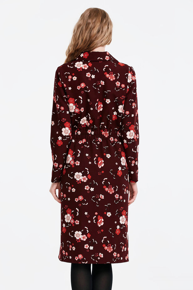 Burgundy dress with a floral print and buttons photo 4 - MustHave online store