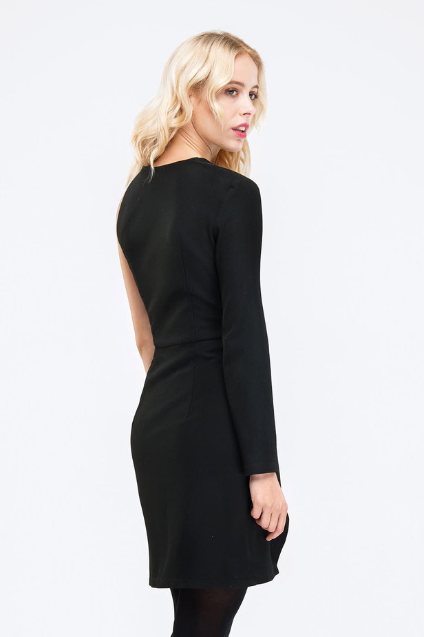 Black one shoulder mini dress photo 4 - MustHave online store
