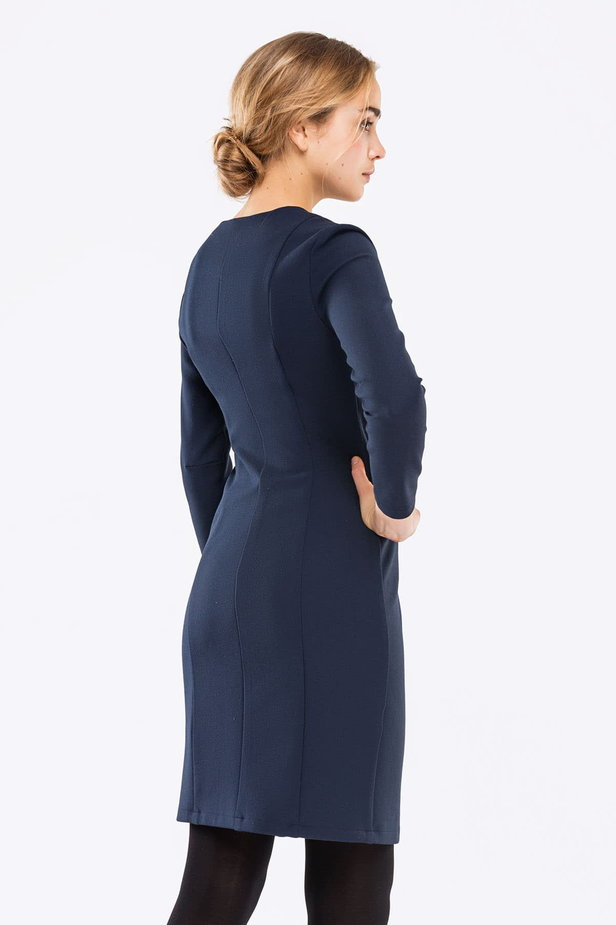 Dark blue dress with buttons photo 2 - MustHave online store