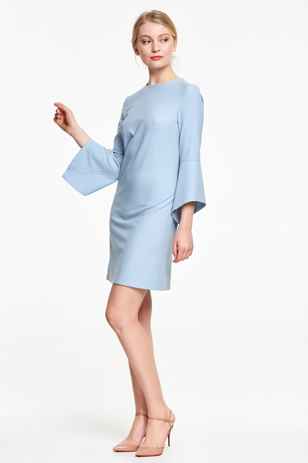 Above the knee blue dress with flounced sleeves photo 3 - MustHave online store