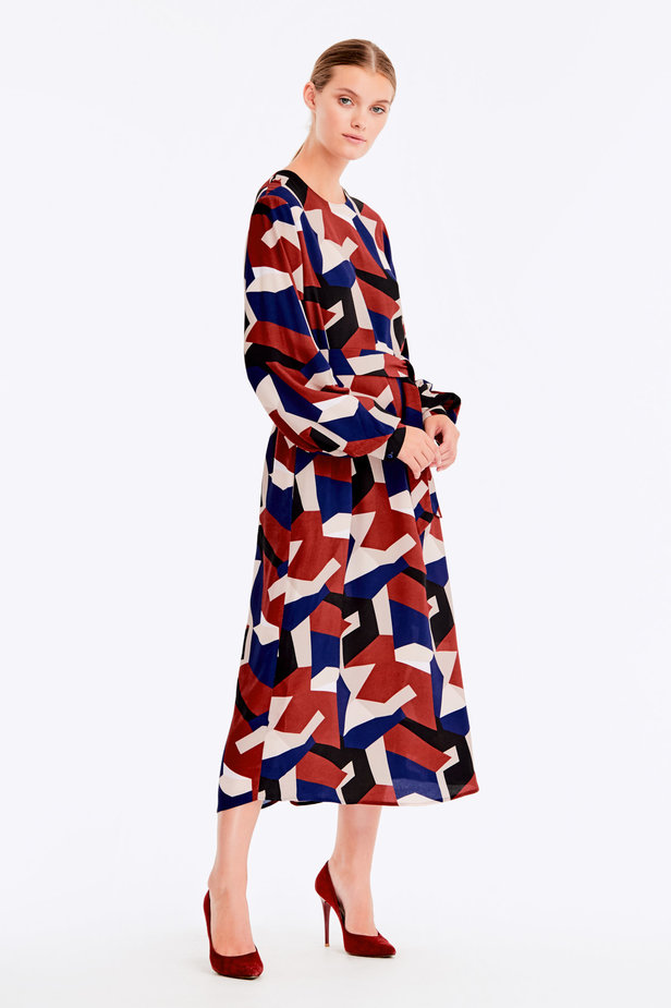 Free midi dress with variegated geometric print ¶¶ photo 4 - MustHave online store