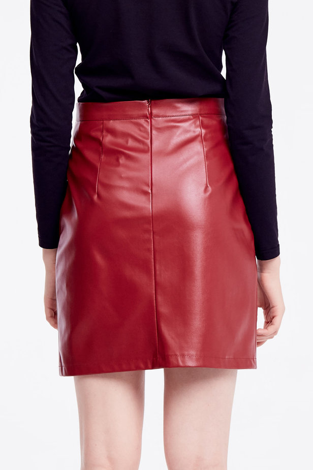 Short burgundy leather skirt photo 4 - MustHave online store