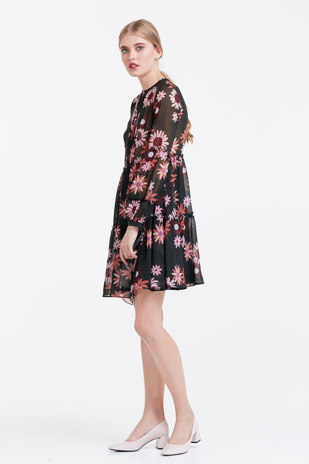 Dress with a floral print, flounces and ties photo 3 - MustHave online store