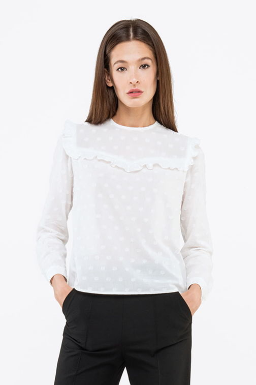 White shirt with ruffles, polka dot print
