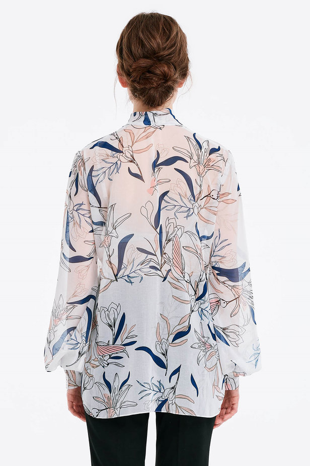 White blouse with a bow, birds print photo 2 - MustHave online store