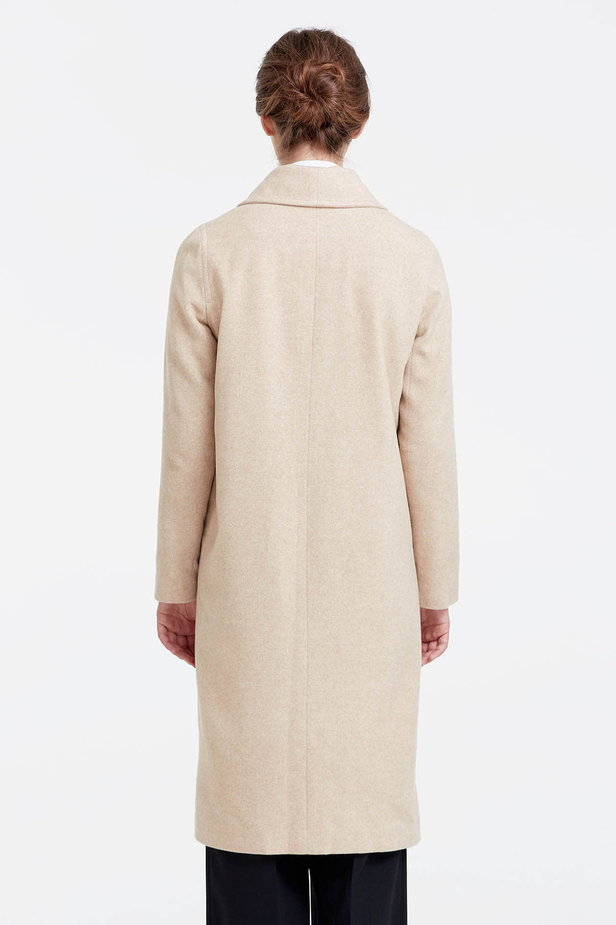 Below the knee double-breasted beige coat photo 4 - MustHave online store