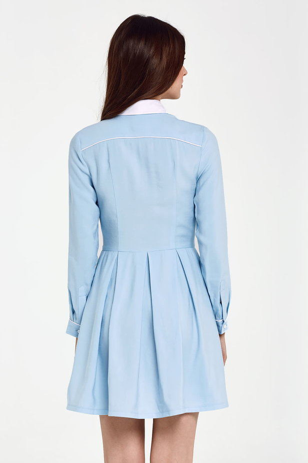 Blue dress with a white collar and piping photo 4 - MustHave online store