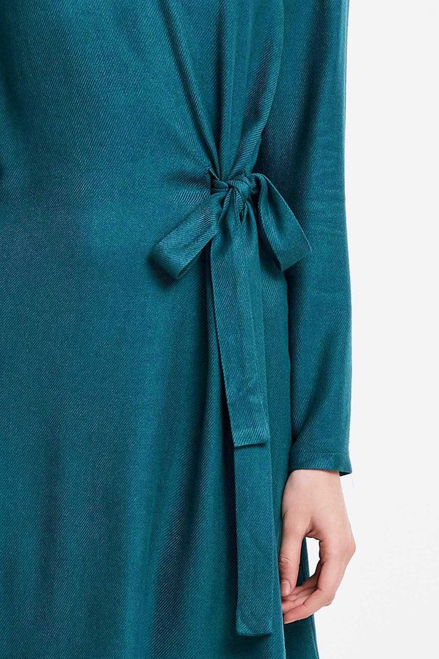 Marine green dress with ties photo 2 - MustHave online store