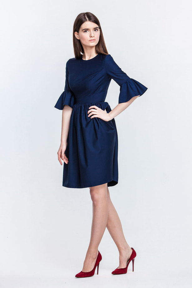 Blue dress with flared sleeves photo 2 - MustHave online store