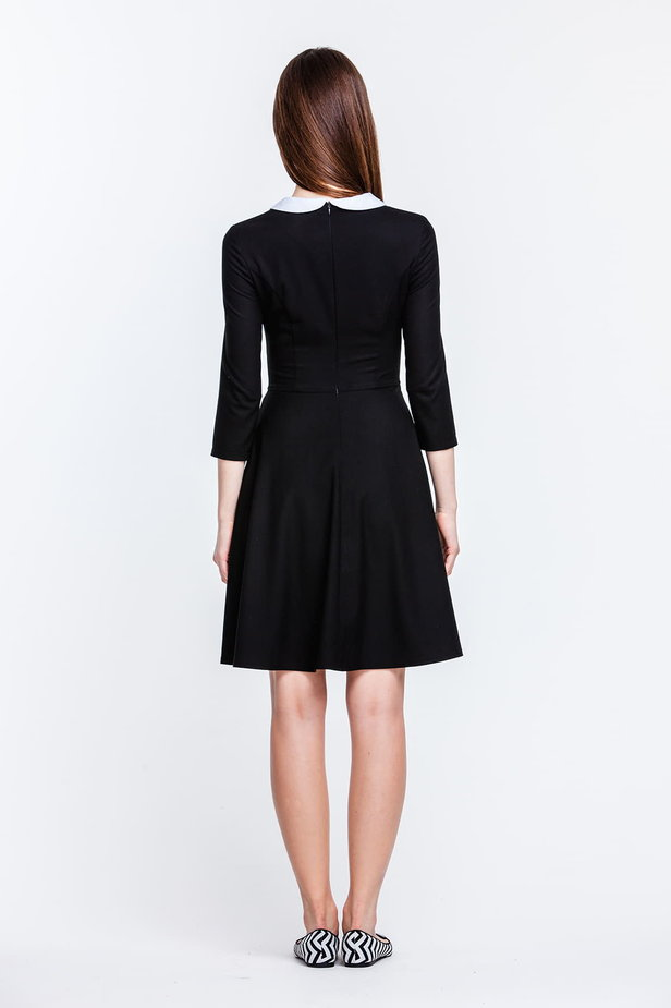 Above the knee black dress with a white collar photo 5 - MustHave online store