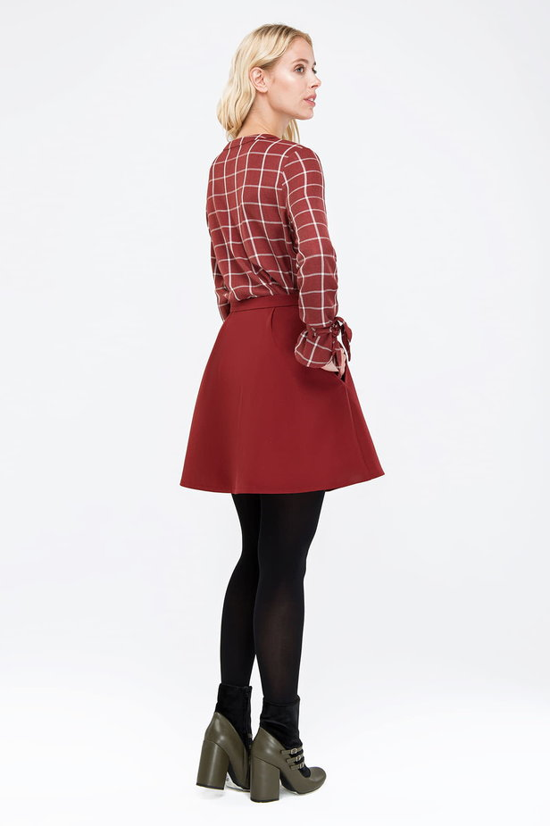 Checked burgundy shirt with bows on the sleeves photo 4 - MustHave online store