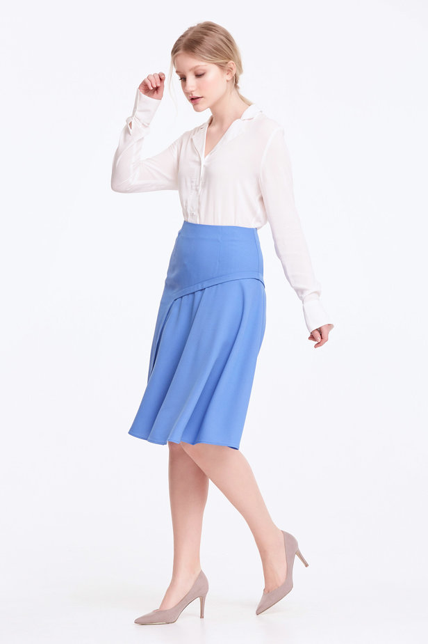 Blue skirt with pleats photo 2 - MustHave online store