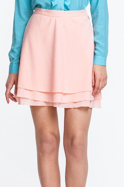 Mini powder pink chiffon skirt