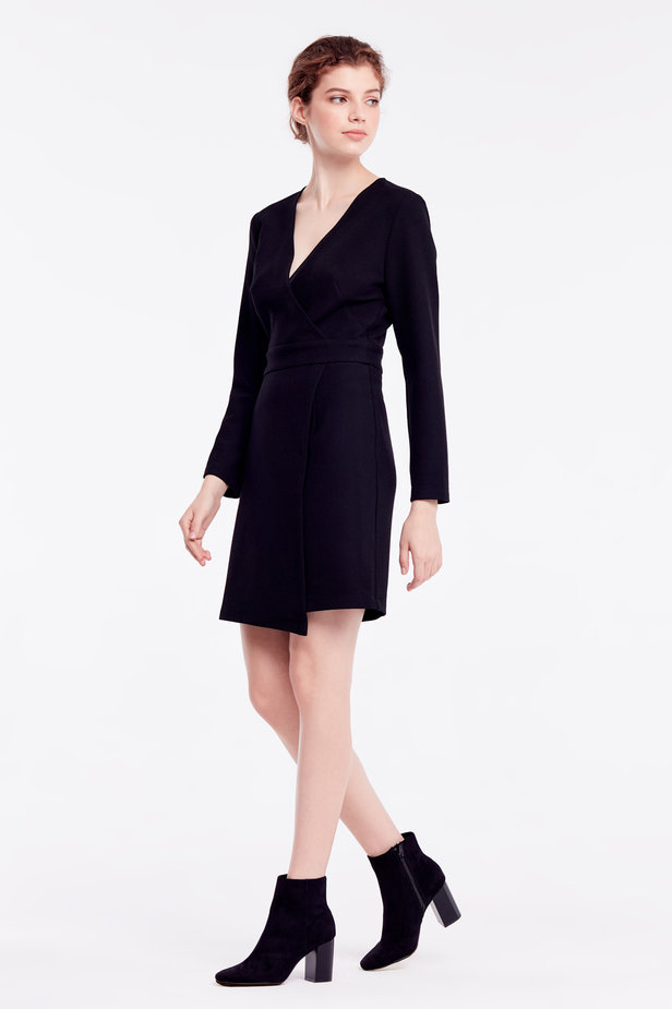 Above-knee wrap black dress photo 3 - MustHave online store