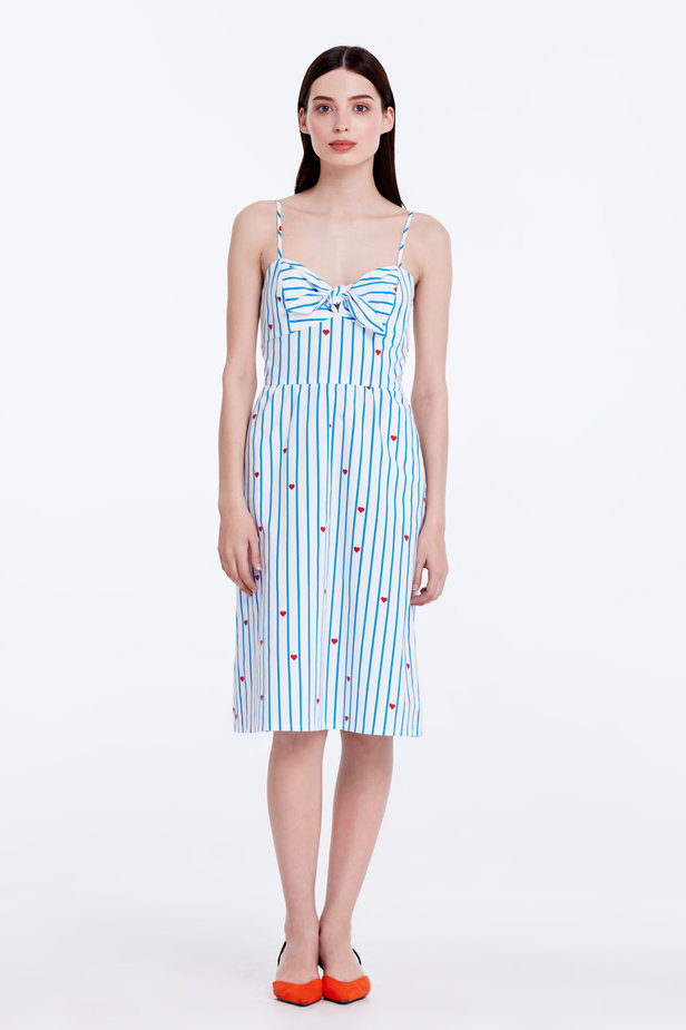 Sundress with blue stripes, hearts and ties photo 3 - MustHave online store
