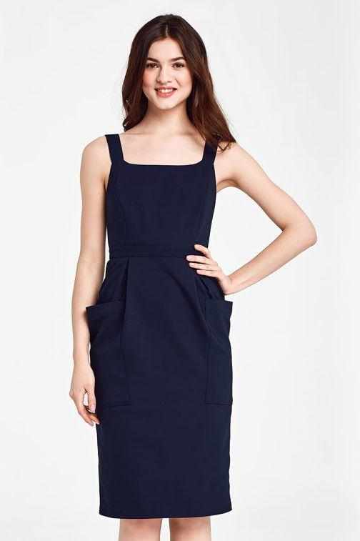 Below the knee dark blue sundress with patch pockets