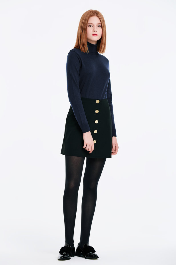 Dark blue polo neck with cotton photo 3 - MustHave online store