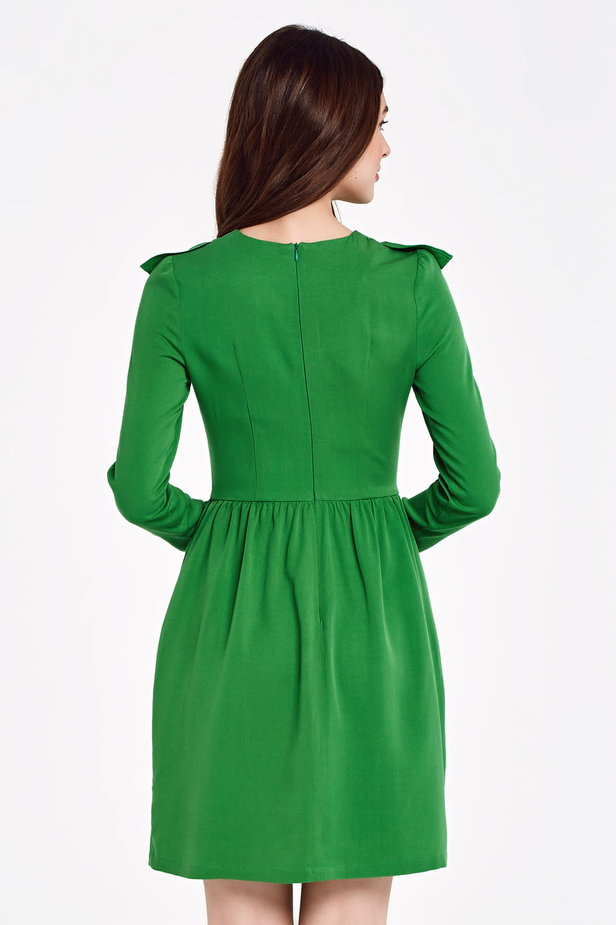 Green dress with ruffles above the knee photo 4 - MustHave online store