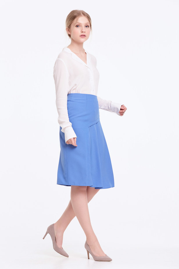 Blue skirt with pleats photo 5 - MustHave online store