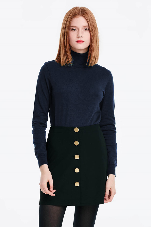 Dark blue polo neck with cotton photo 1 - MustHave online store