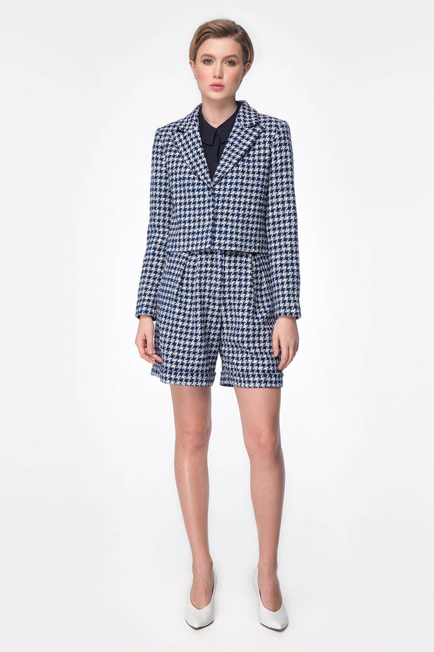 Shortened jacket with blue&white houndstooth print photo 2 - MustHave online store