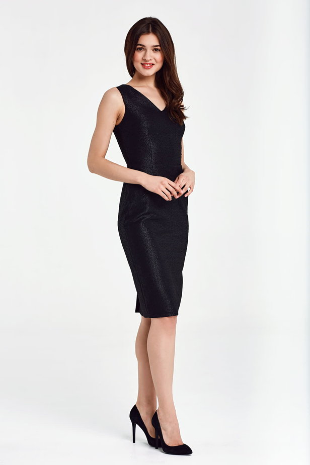 Black dress with lurex above the knee photo 6 - MustHave online store