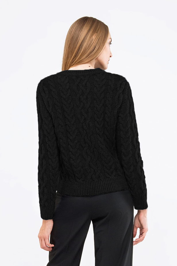 Short braided black pullover photo 2 - MustHave online store