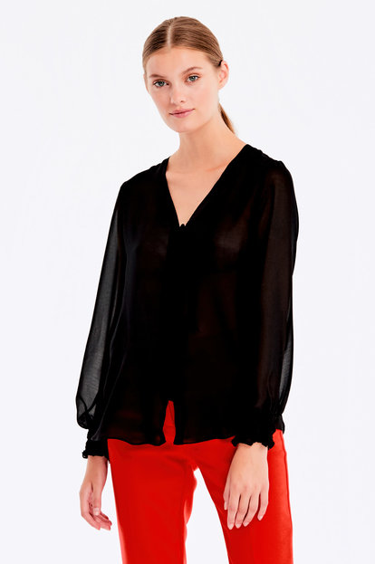Black blouse with elastic band on sleeves