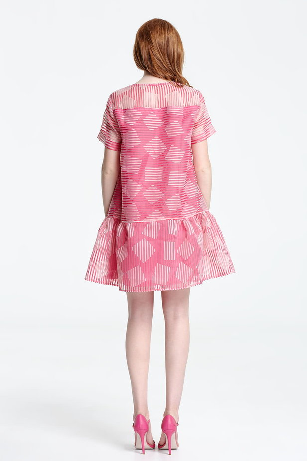 Above the knee striped pink dress with a flared skirt, rhombs print photo 3 - MustHave online store