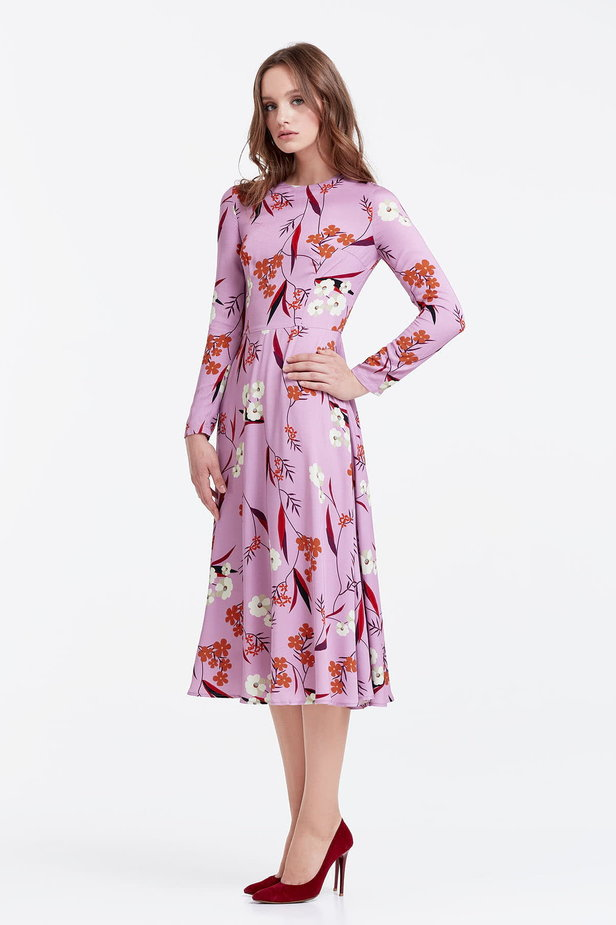 Midi lilac dress with a floral print photo 2 - MustHave online store