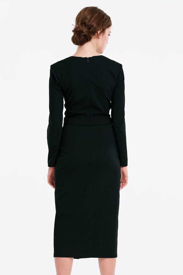 Wrap column black dress photo 2 - MustHave online store