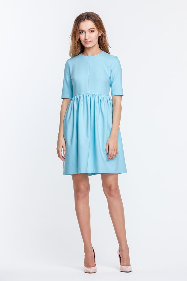 Mini blue dress with a peg-top skirt photo 3 - MustHave online store