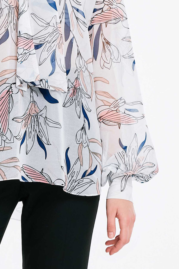 White blouse with a bow, birds print photo 5 - MustHave online store